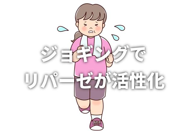 汗をかきながらジョギングする女性