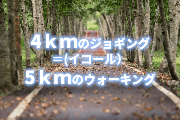 4kmのジョギング=5kmのウォーキング