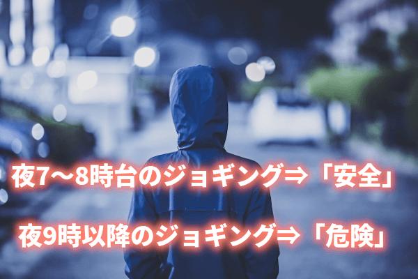 夜7~8時台のジョギング⇒「安全」 夜9時以降のジョギング⇒「危険」